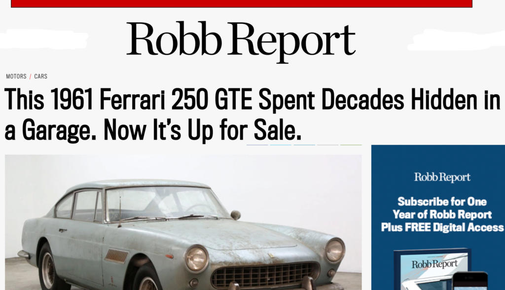 1961 Ferrari 250 GTE Robb Report April 2020