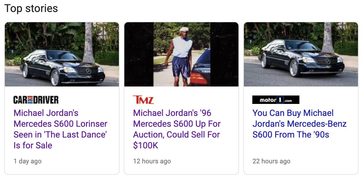 michael jordan classic cars for sale